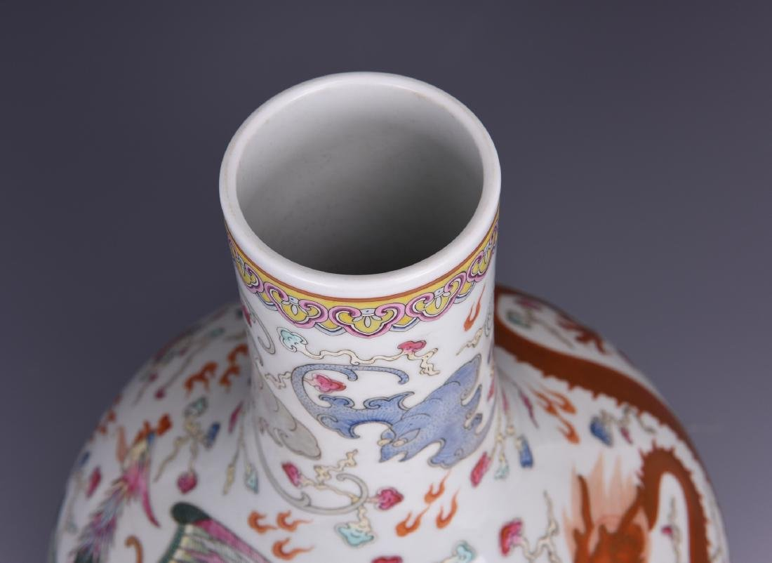 Chinese famille rose porcelain vase, Guangxu mark. - 7
