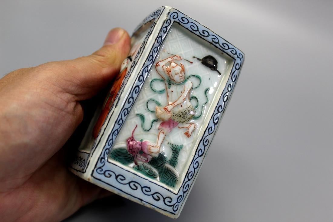 Chinese famille rose porcelain brush pot, Qianlong - 4