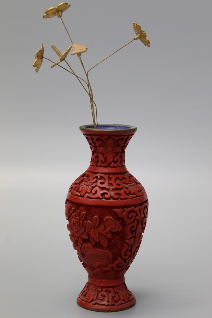 Chinese cinnabar vase.