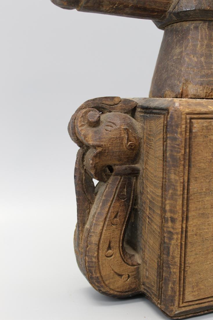 Antique Indian wood grinder or juicer. - 2