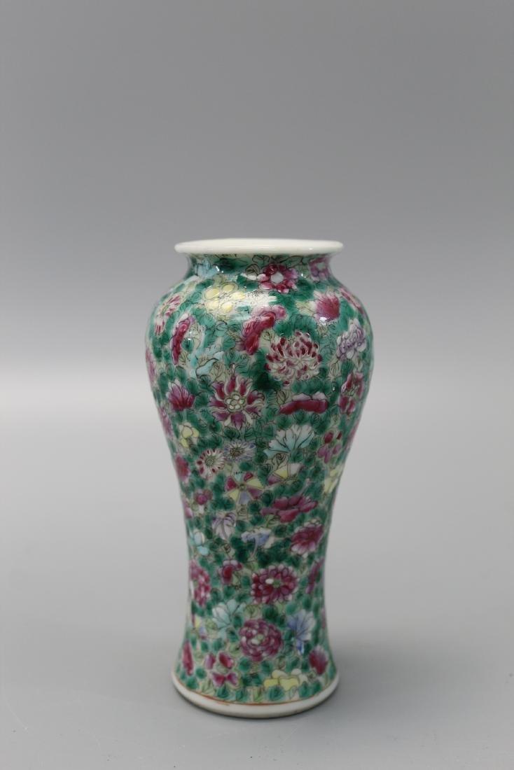 Chinese famille rose hundred-flower porcelain vase.