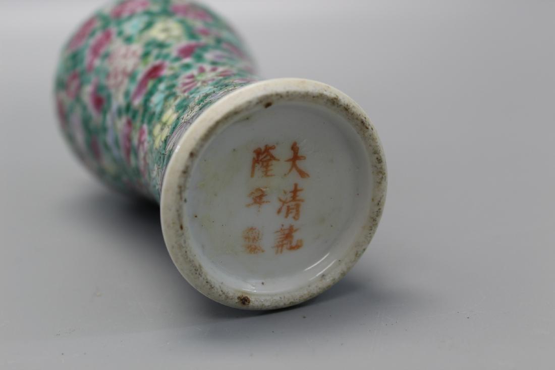 Chinese famille rose hundred-flower porcelain vase. - 3