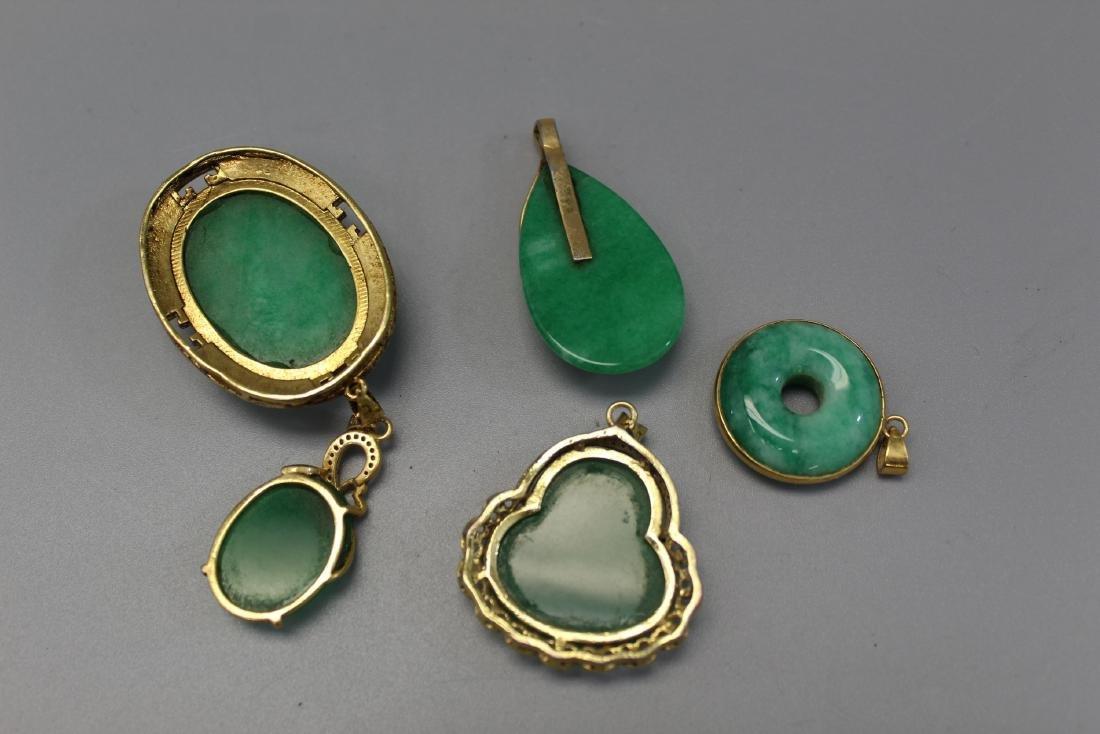 5 Chinese stone pendants. - 2