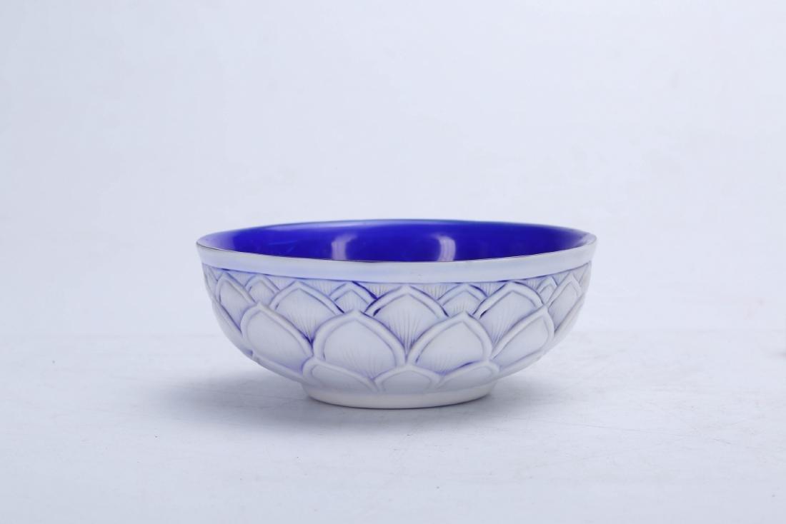 Chinese Peking glass bowl, Qianlong mark.