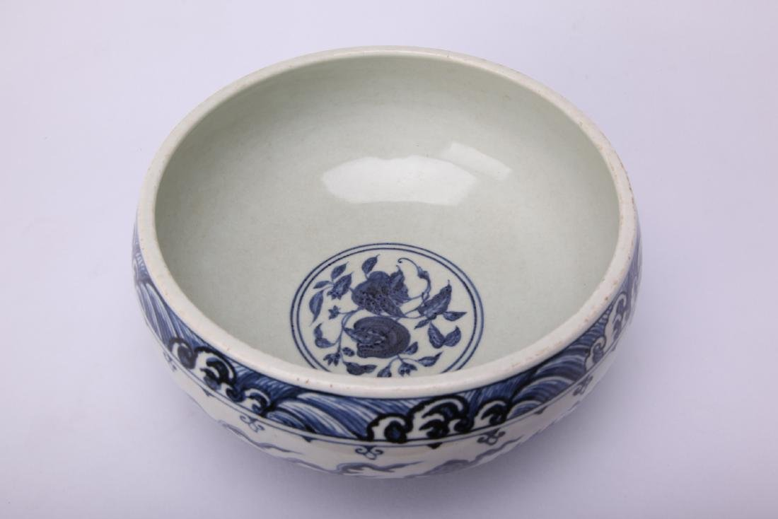 Chinese blue and white porcelain washer. - 4