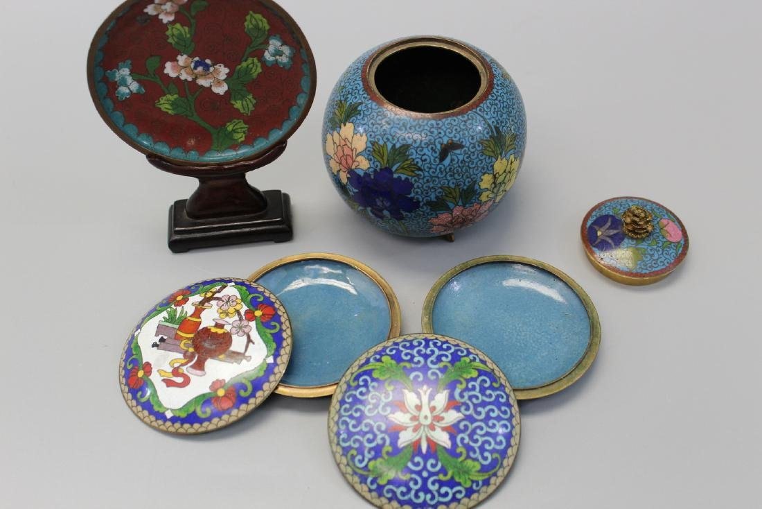 Group of four Chinese cloisonne items. - 3