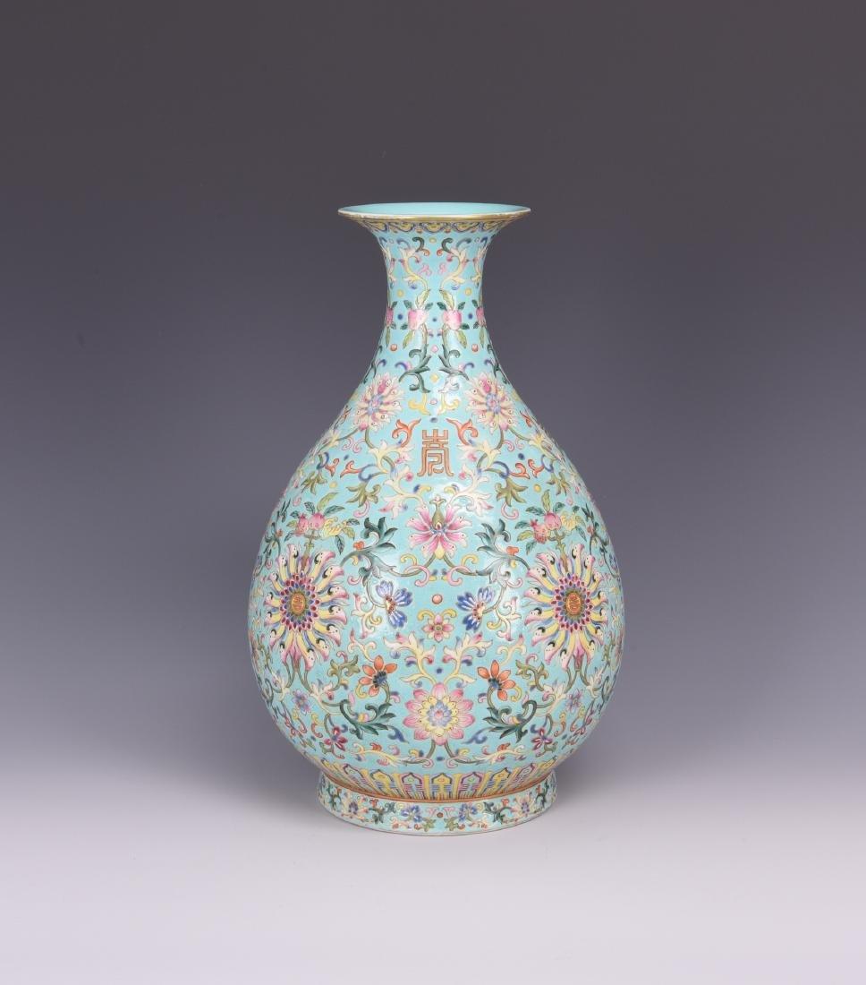 Chinese famille rose porcelain vase, Jiaqing mark. - 2