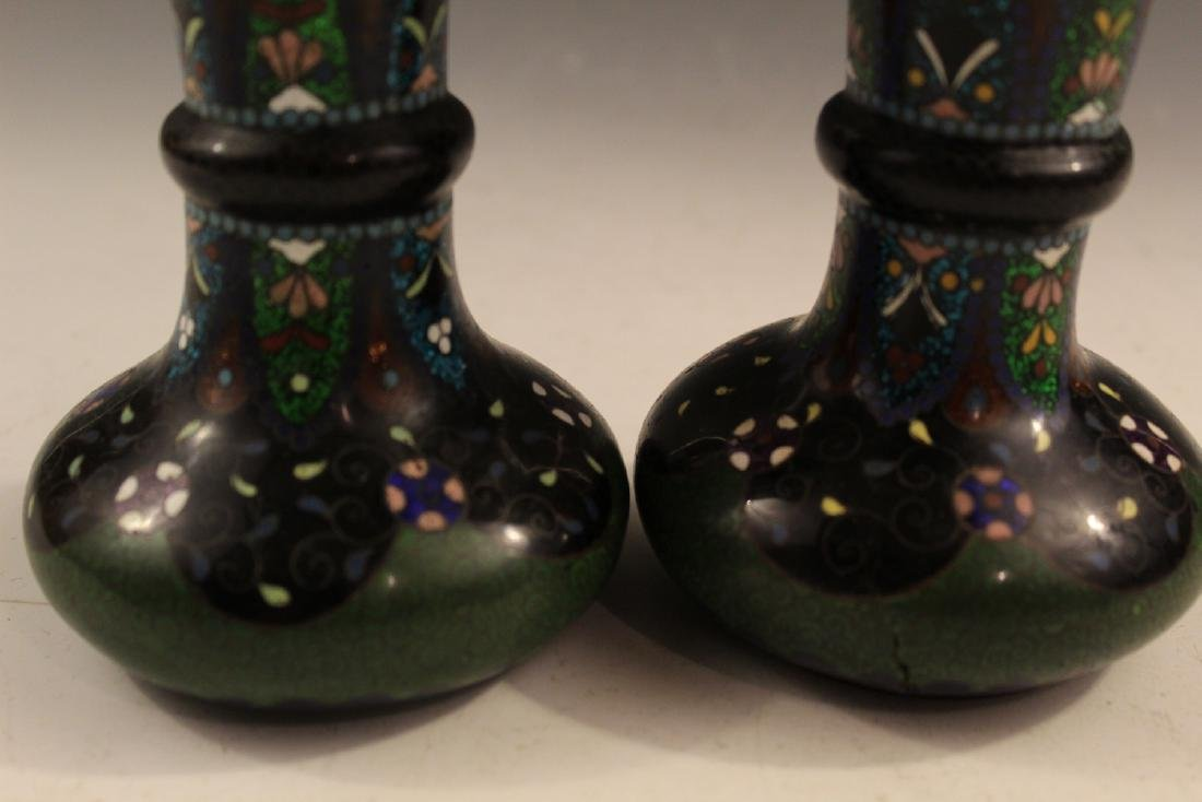 Pair of Japanese antique cloisonne vases. 19th Century. - 3