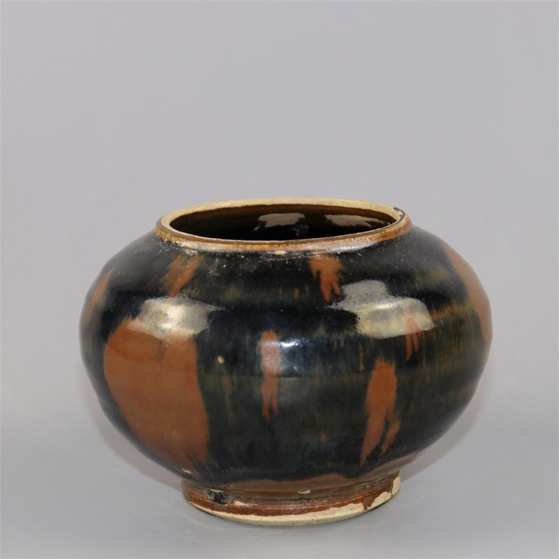 Chinese black glaze pottery jar. - 2