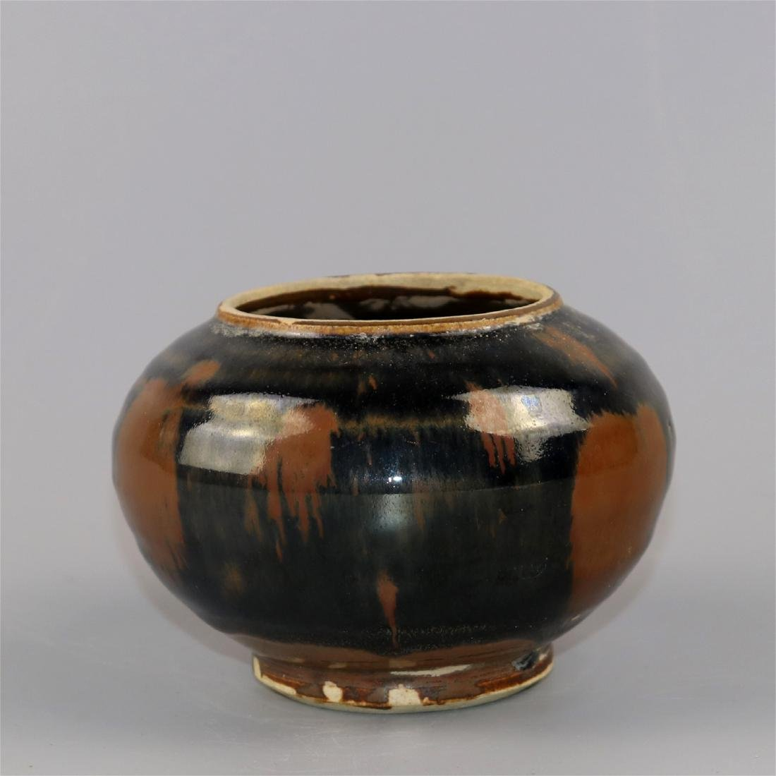 Chinese black glaze pottery jar. - 3