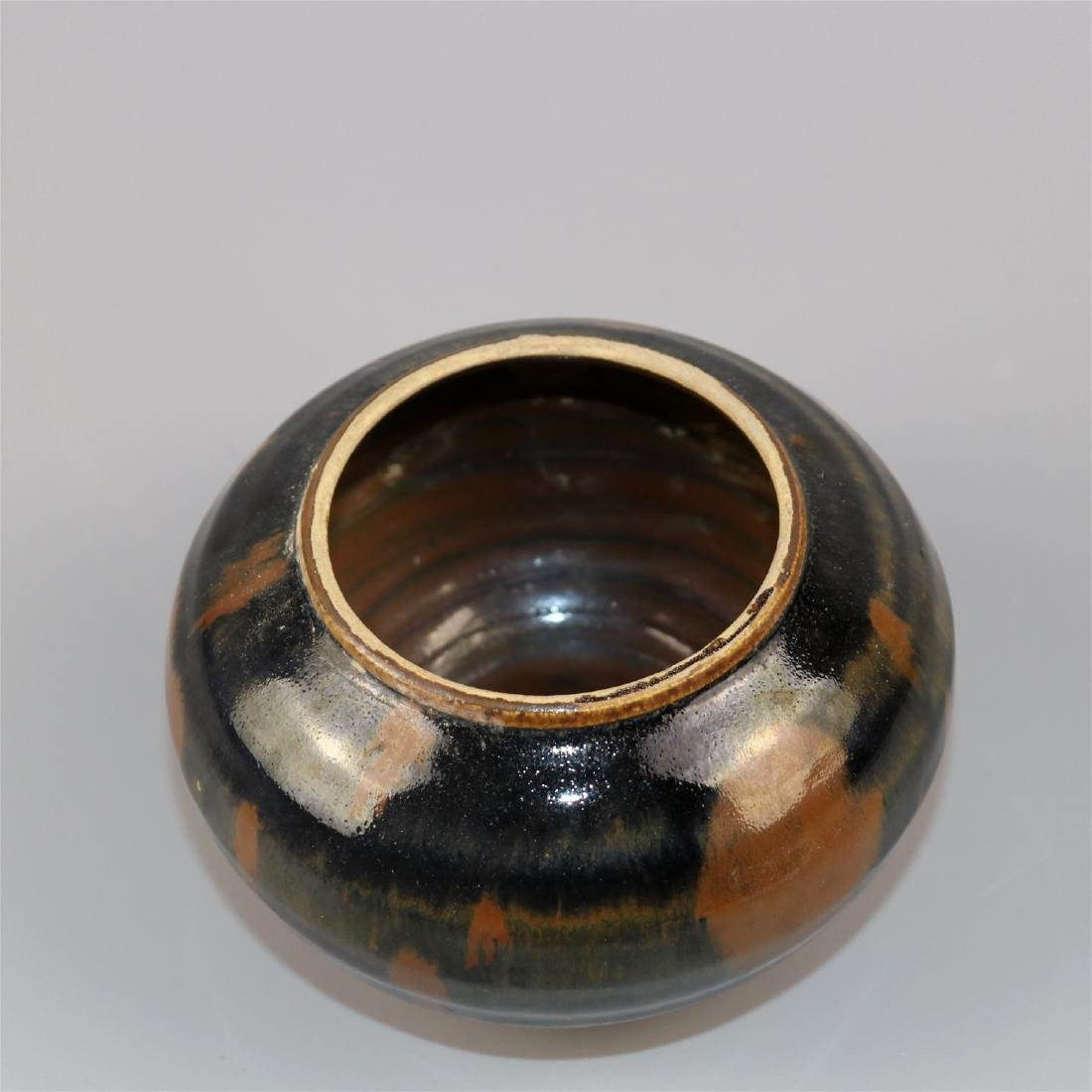 Chinese black glaze pottery jar. - 4