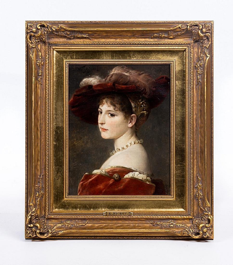 E NICZKY OIL PAINTING ON CANVAS E Niczky  (GERMAN 1850)