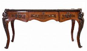 LOUIS XV STYLE BRONZE MOUNTED LEATHER TOP DESK
