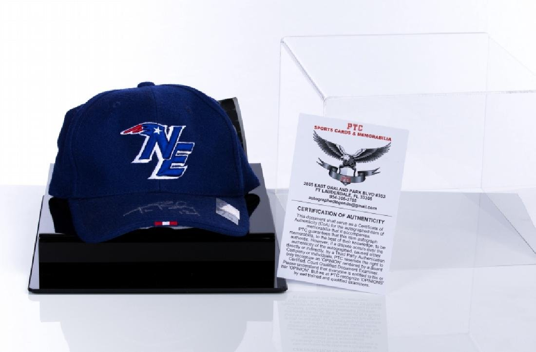 Tom Brady Signed Hat In Display Case