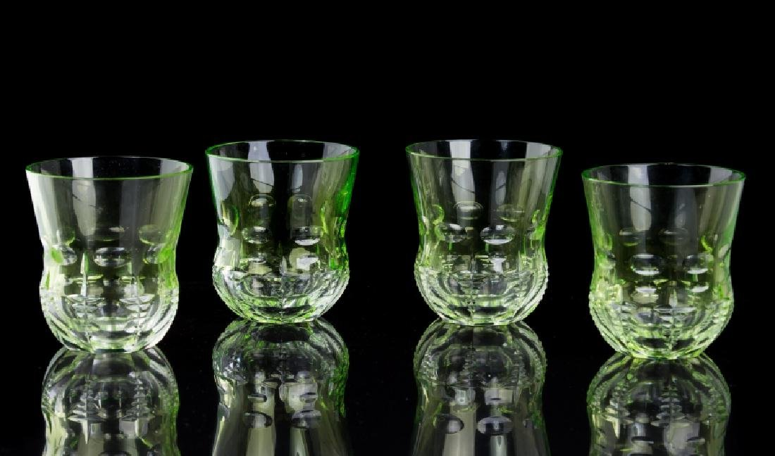 4 WATERFORD CRYSTAL GREEN DOUBLE OLD FASHION