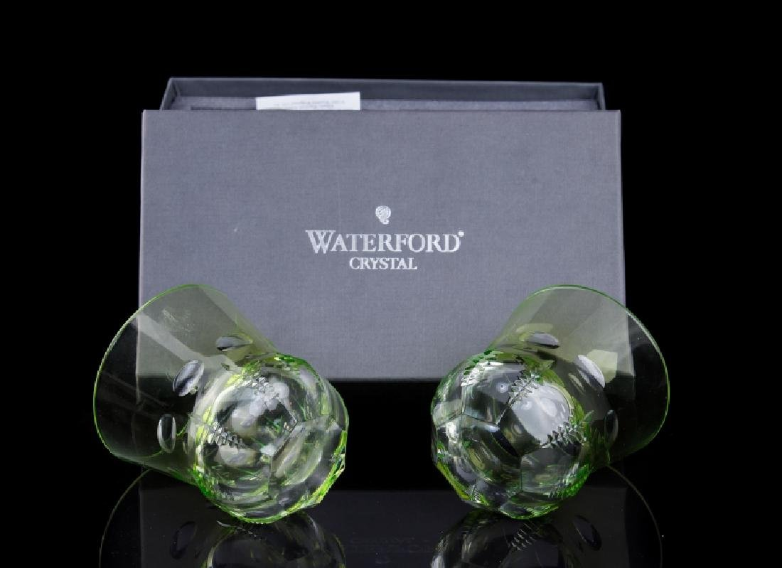 4 WATERFORD CRYSTAL GREEN DOUBLE OLD FASHION - 2