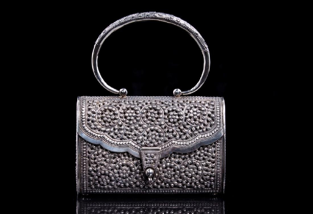 FILIGREE SILVER BEADED PERSIAN STYLE PURSE