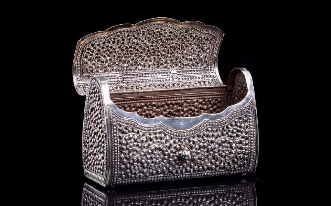 FILIGREE SILVER BEADED PERSIAN STYLE PURSE - 2