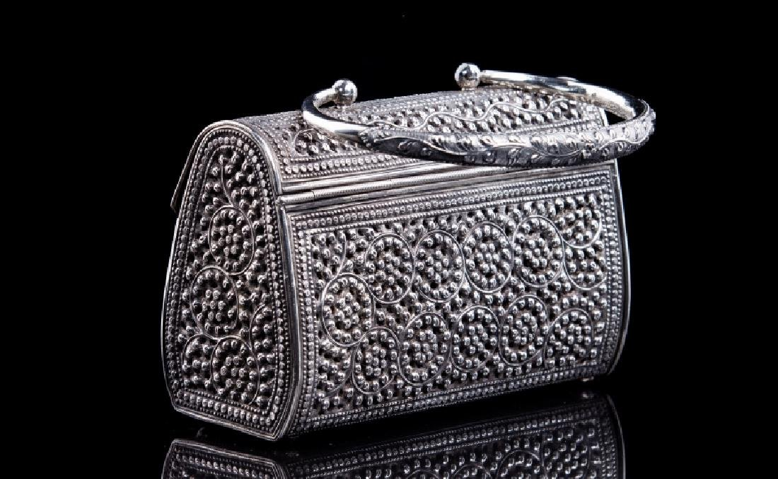 FILIGREE SILVER BEADED PERSIAN STYLE PURSE - 3