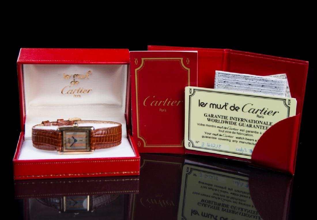 CARTIER LADIES STRIPED FACE WATCH - 6