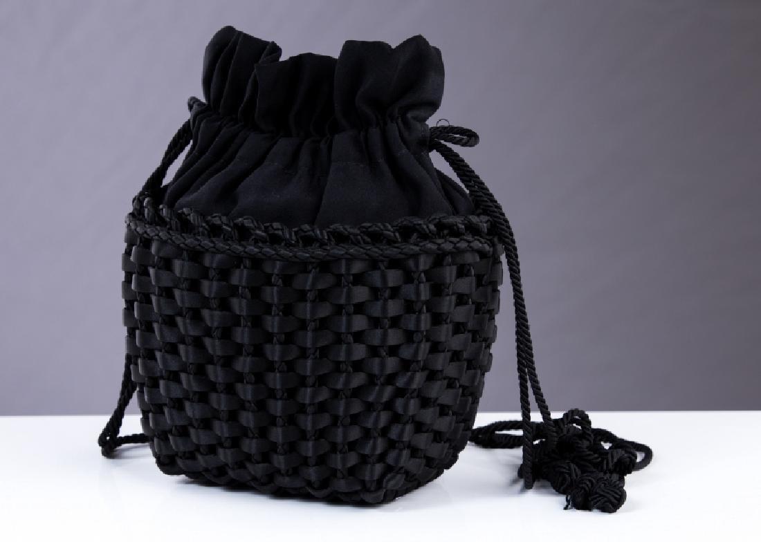 BOTTEGA VENETA BLACK SATIN PURSE - 2