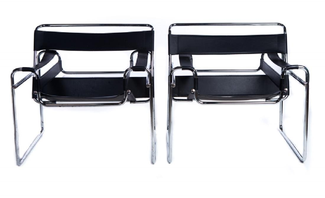 PAIR WASSILY MARCEL BREWER CHROME LEATHER CHAIRS