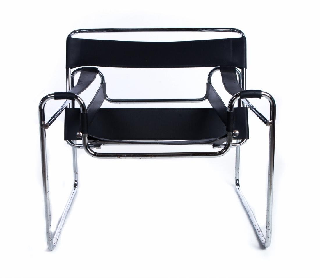 PAIR WASSILY MARCEL BREWER CHROME LEATHER CHAIRS - 2