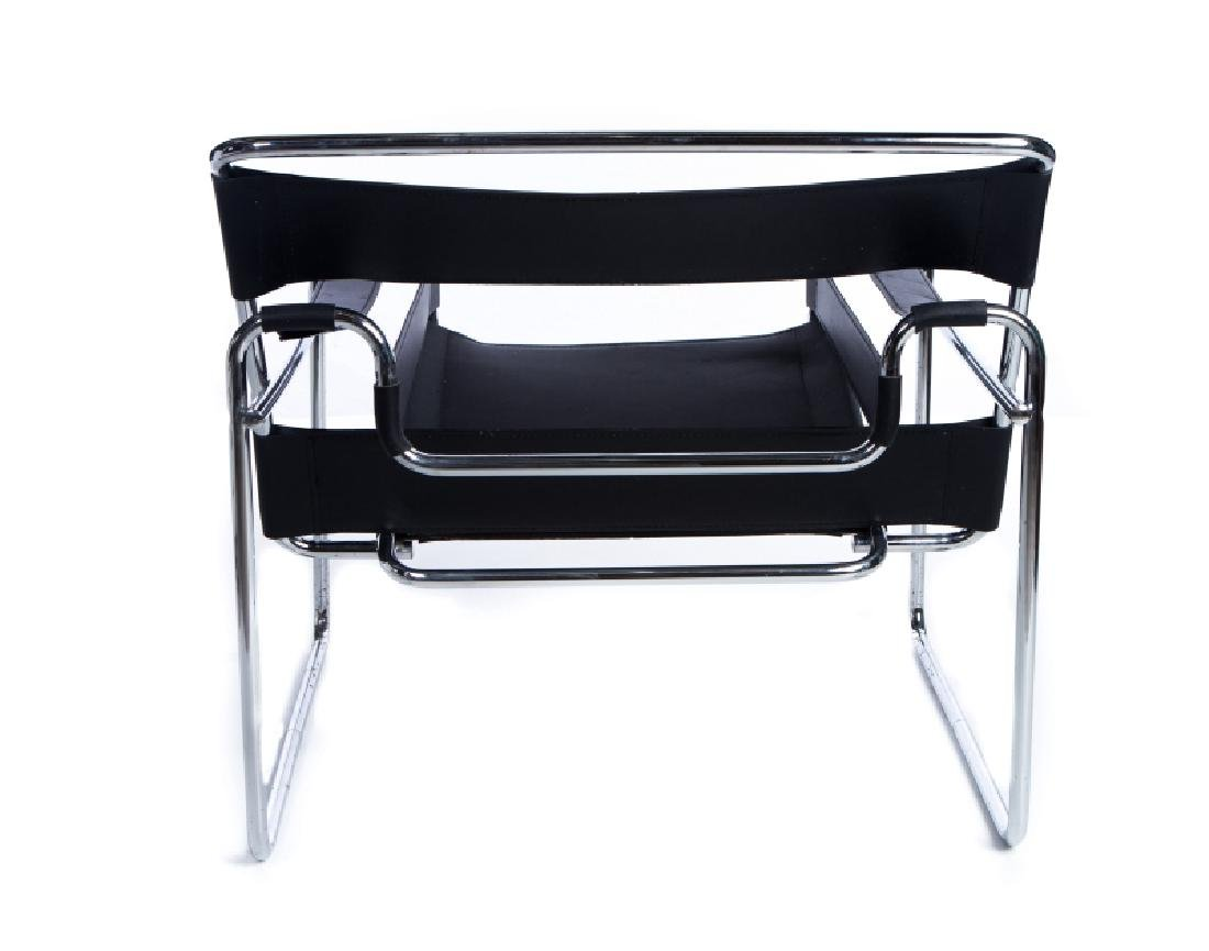 PAIR WASSILY MARCEL BREWER CHROME LEATHER CHAIRS - 4