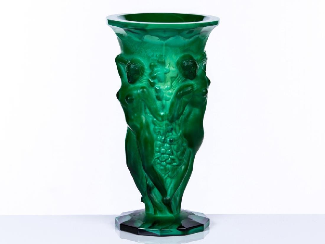 MALACHITE FIGURAL VASE GLASS
