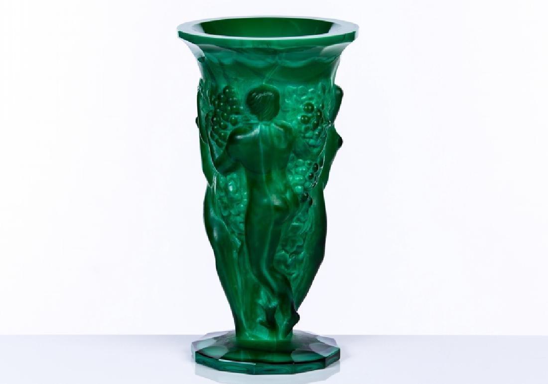 MALACHITE FIGURAL VASE GLASS - 2