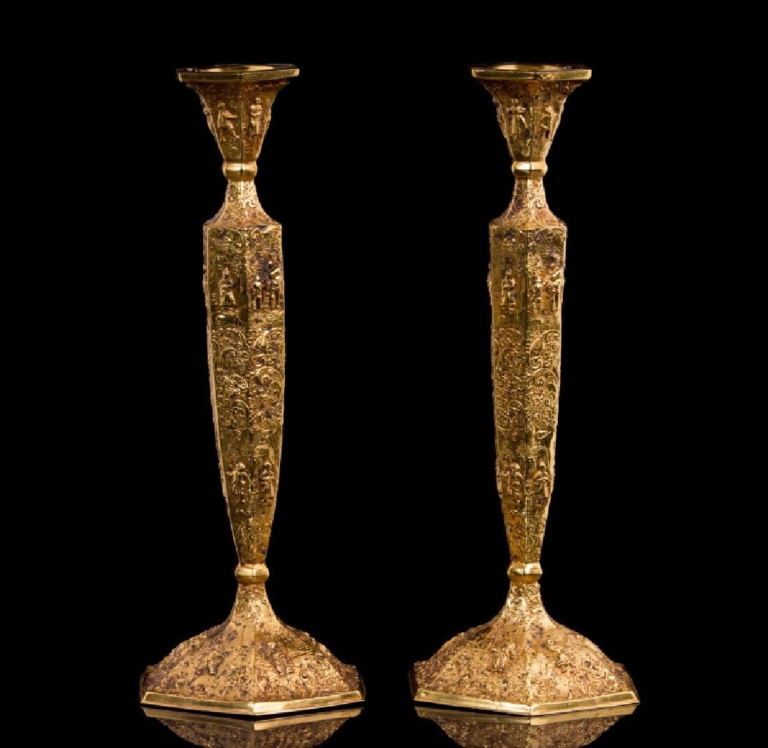PAIR OF GOLD PLATED CANDLESTICKS