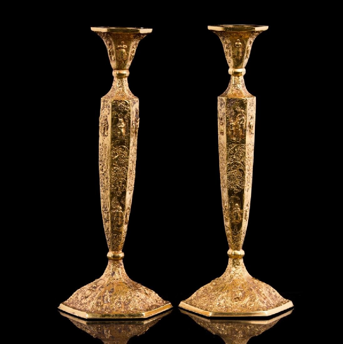 PAIR OF GOLD PLATED CANDLESTICKS - 2