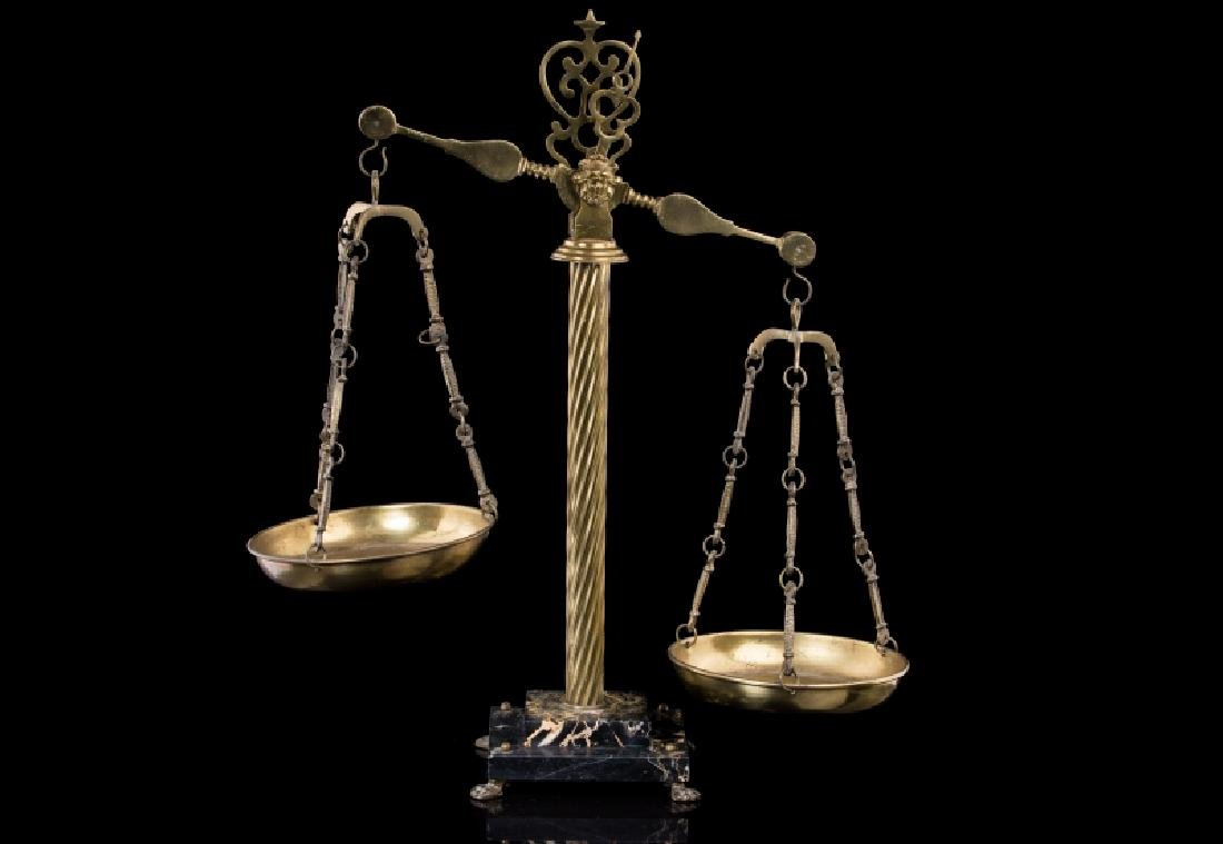 FRENCH BRONZE & MARBLE FIGURAL SCALE