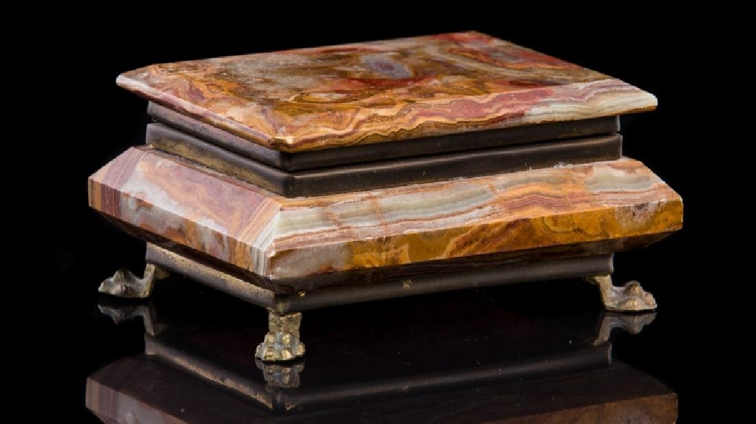 MARBLE & GILT METAL COVERED BOX