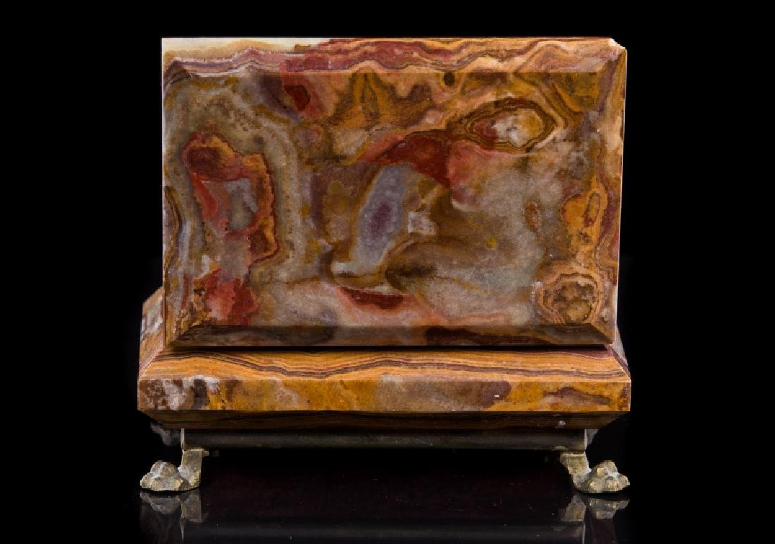 MARBLE & GILT METAL COVERED BOX - 3