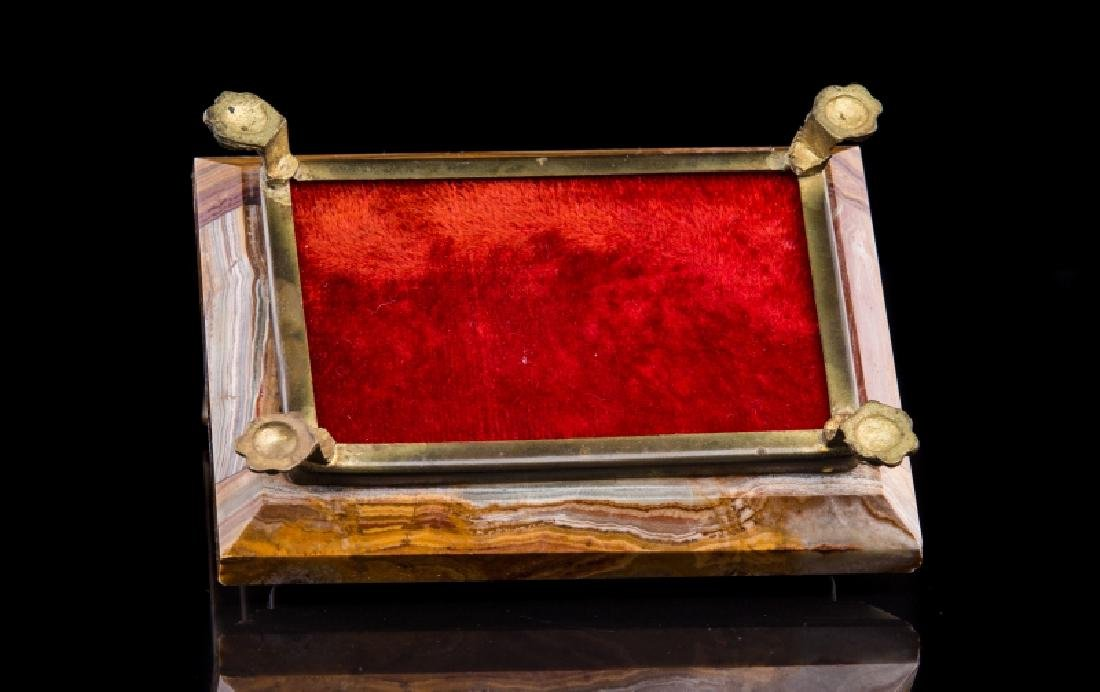 MARBLE & GILT METAL COVERED BOX - 4