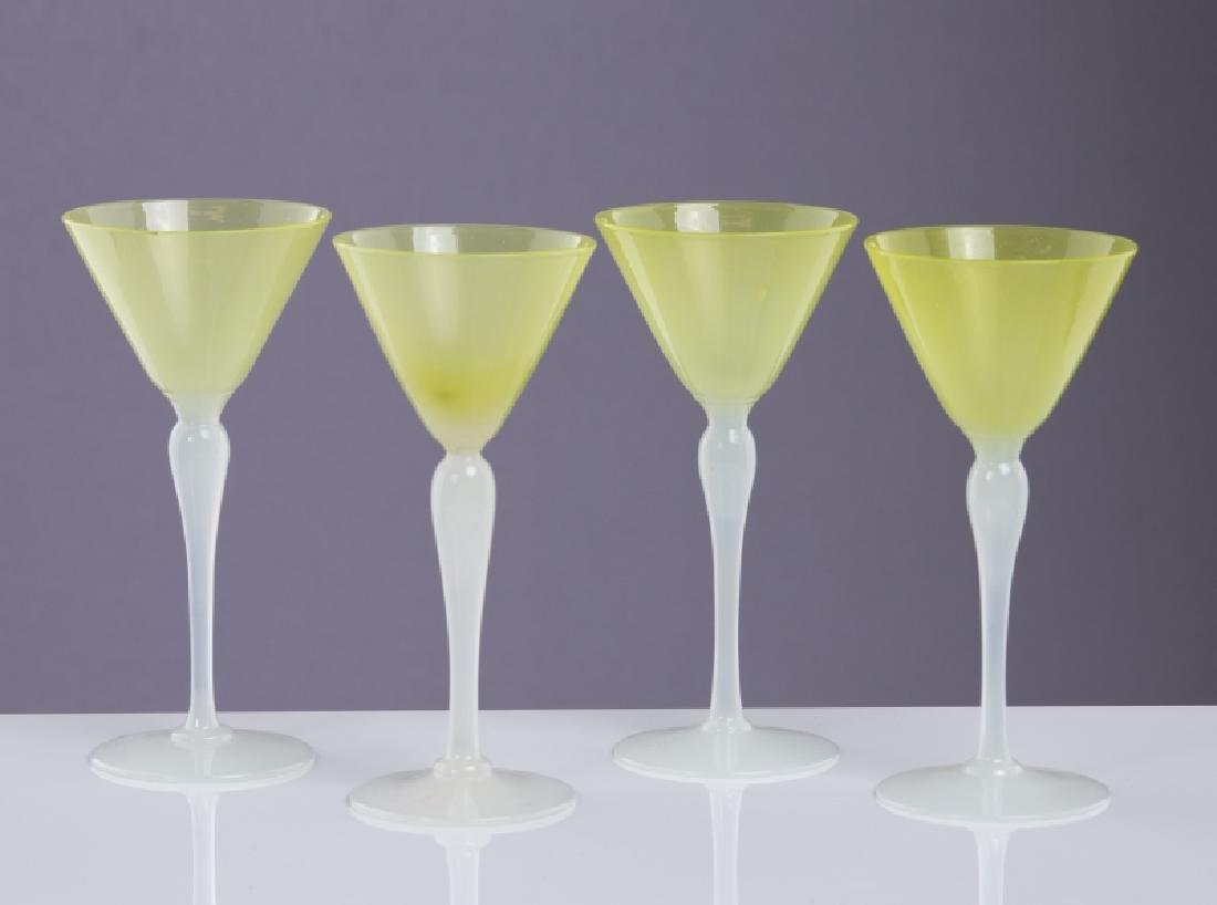 4 STEVENS & WILLIAMS ART GLASS WINE GLASSES