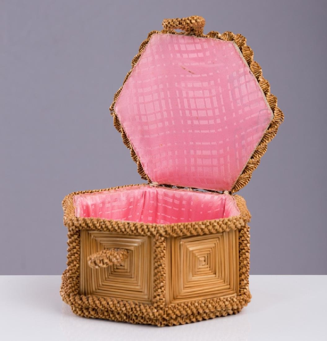 VICTORIAN SEWING STRAW BOX - 2