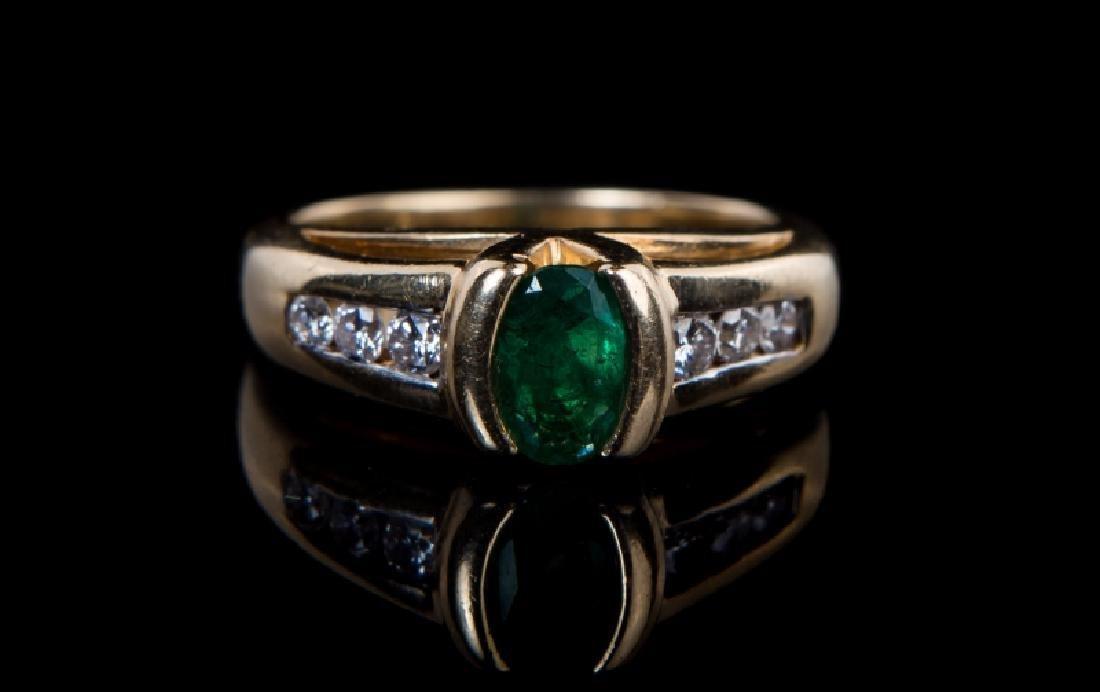 14 KT YG EMERALD & DIAMOND RING - 2