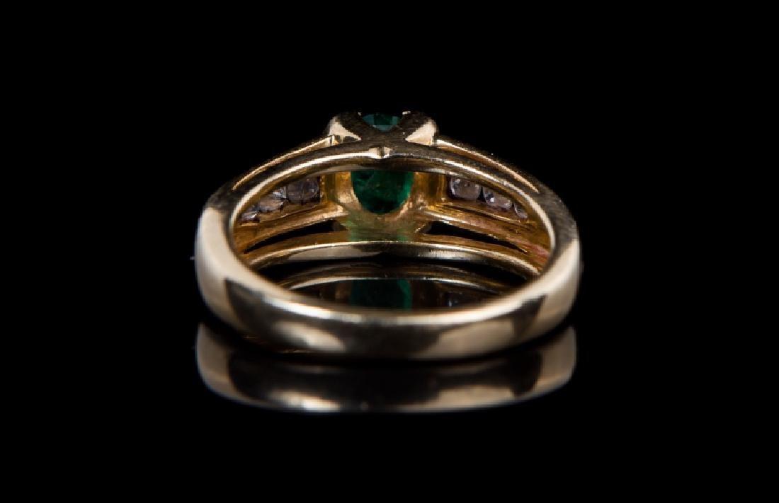 14 KT YG EMERALD & DIAMOND RING - 4