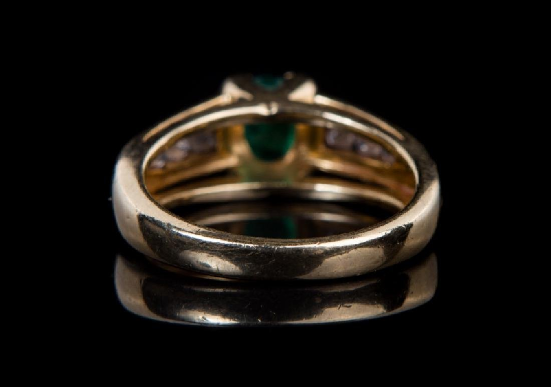 14 KT YG EMERALD & DIAMOND RING - 5