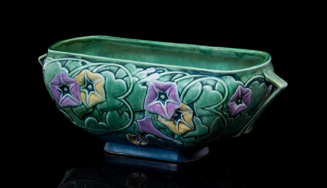 ART DECO POTTERY 2 HANDLE OVAL PLANTER - 2