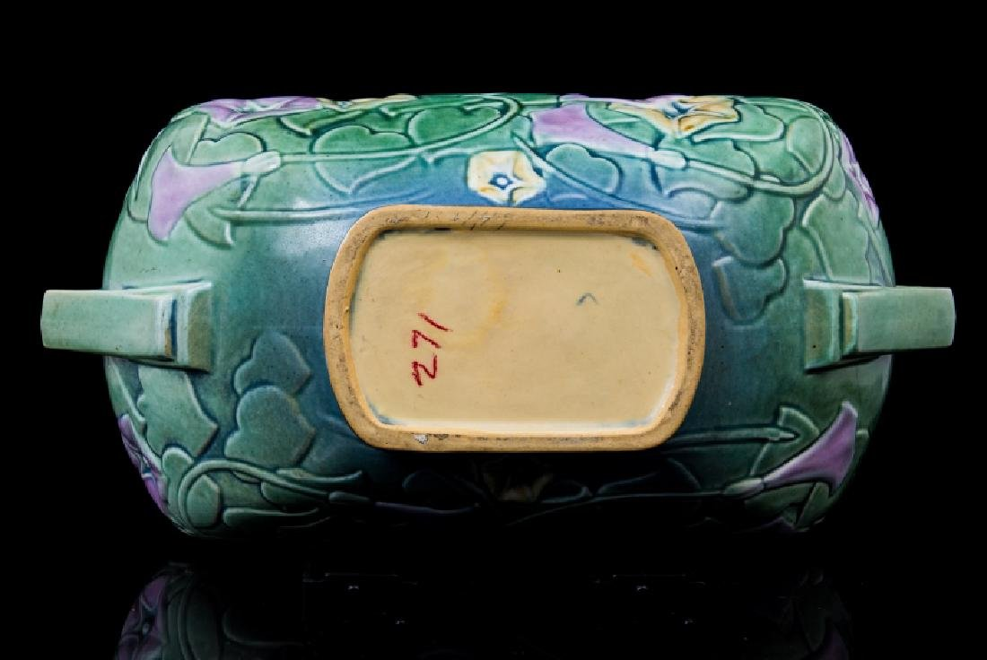 ART DECO POTTERY 2 HANDLE OVAL PLANTER - 3