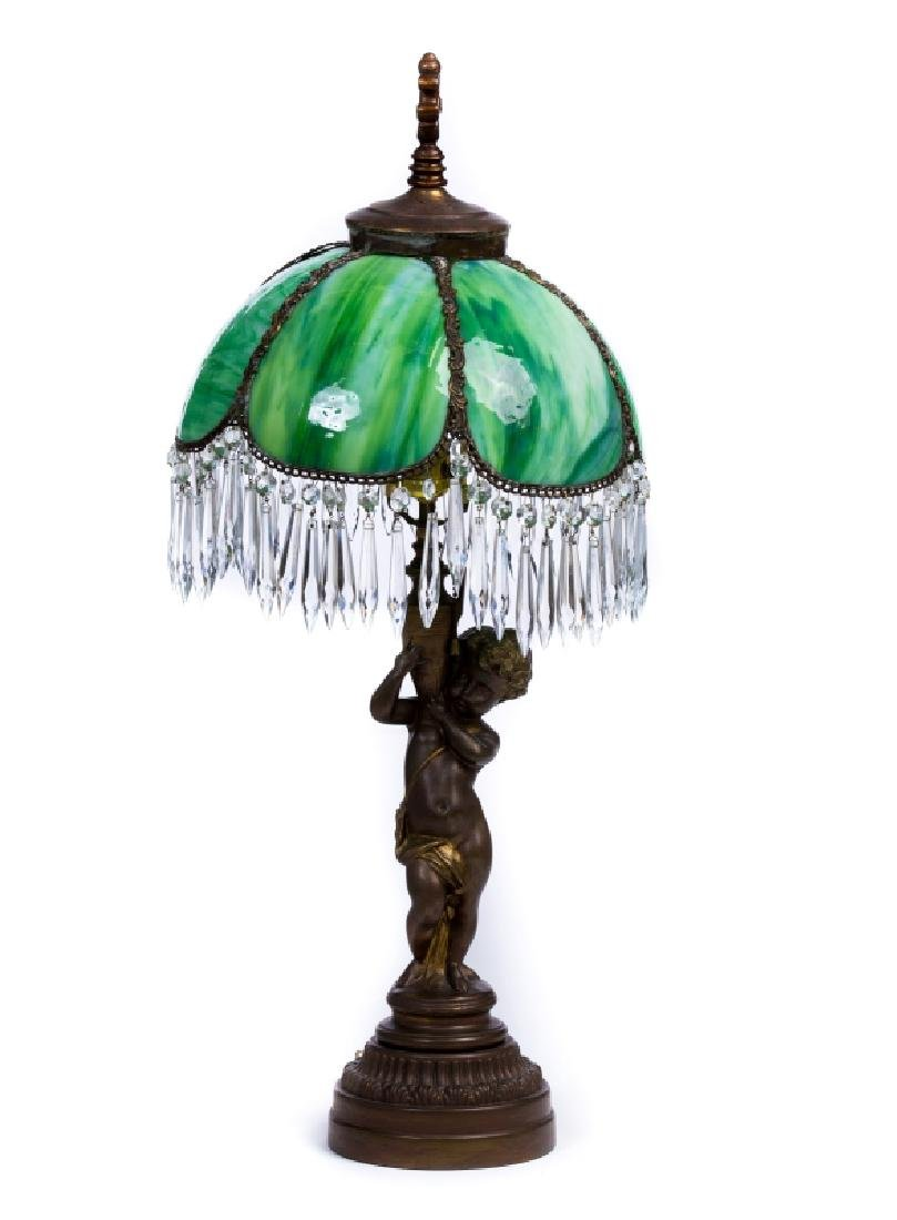 FRENCH METAL SLAG GLASS LAMP