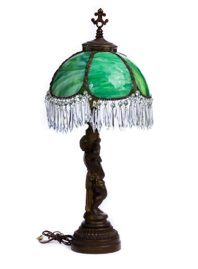 FRENCH METAL SLAG GLASS LAMP - 2
