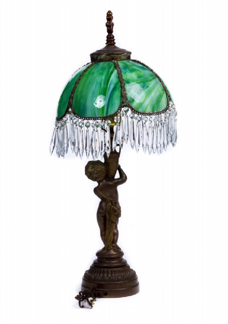 FRENCH METAL SLAG GLASS LAMP - 3