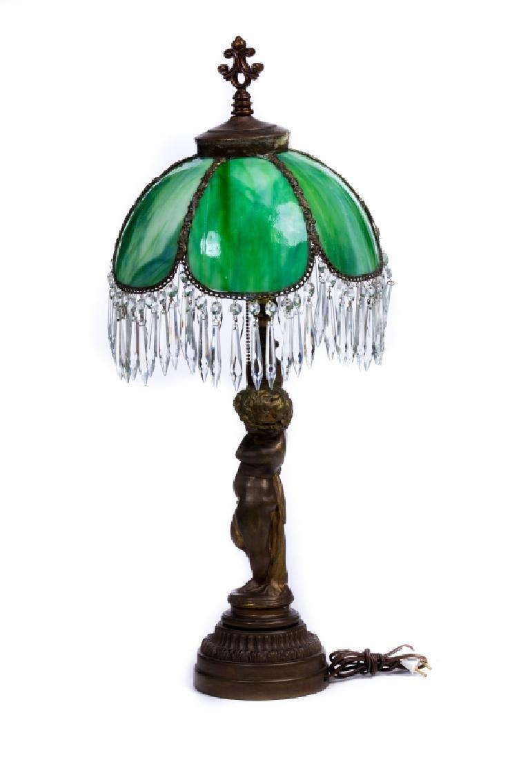 FRENCH METAL SLAG GLASS LAMP - 4