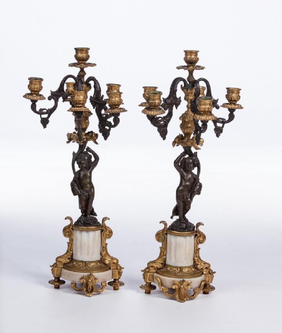 PAIR OF FRENCH  BRONZE & MARBLE FIGURAL CANDELABRA