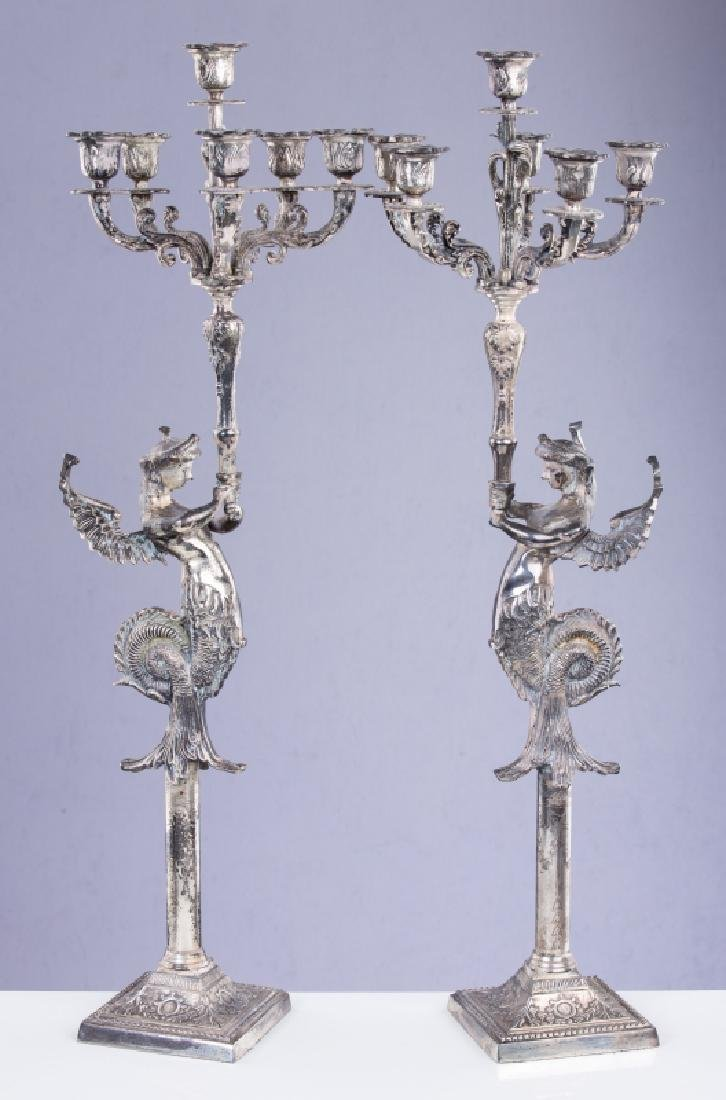 PAIR OF SILVER PLATED FIGURAL 6 LIGHT CANDLEABRA