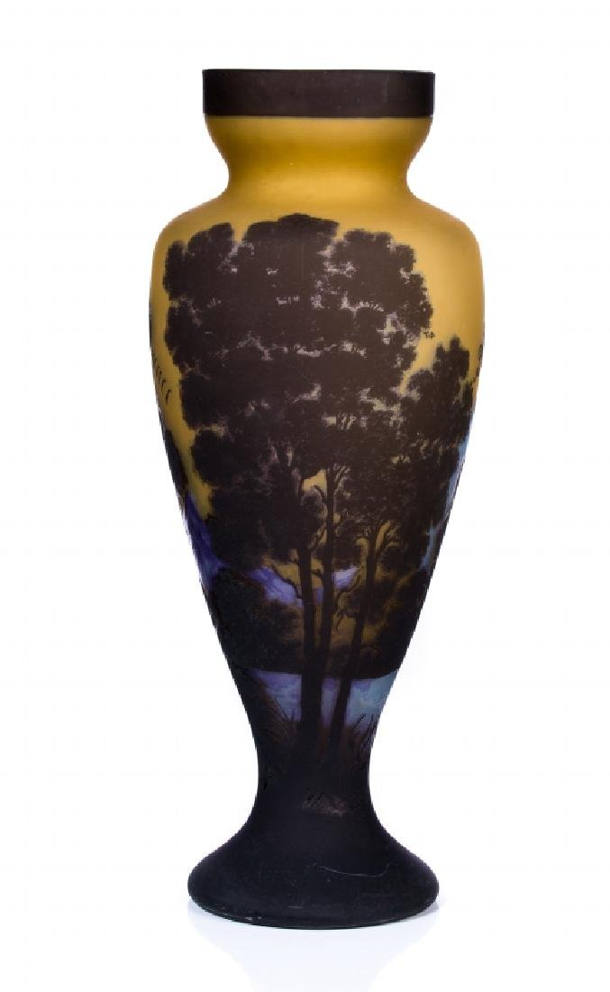 LARGE ART GLASS CAMEO VASE SIGNED GALLE